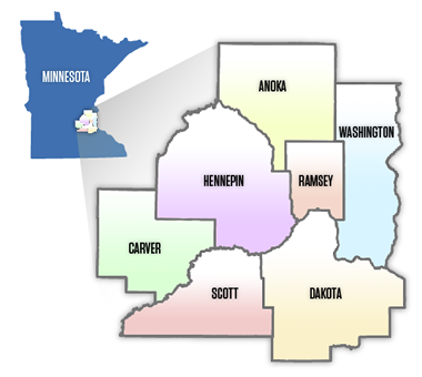 Seven county Minnesota Twin Cities metro area